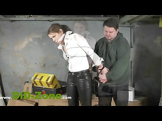 Girl cuaght stealing beeing bodysearched and then tied up