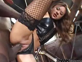 Hot asian pornstar riding big black dick