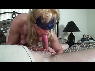 Blonde milf gives a blindfolded birthday blow job to a young pornhub member