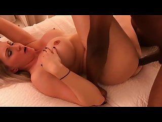 Busty milf Amber Heart fucks and sucks black dick