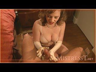 Vintage glove handjob
