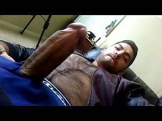 Nice hard Latino cock w don stone leather jacket hairy chest