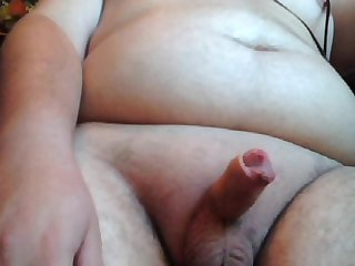 Shaved horny chubby 18 year old cums on his big Belly