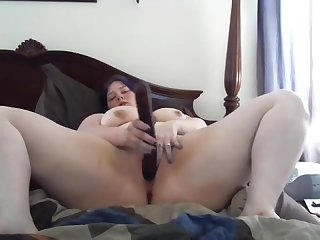 Glitchmatrix blows a nice big dildo and fucks her pussy senseless