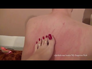 Evil mistress back raking with long squared toenails