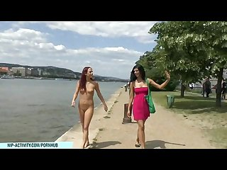 Crazy chick tereza shows her naked body on public streets