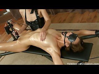 Gagged and oiled in orgasm dona joe