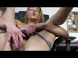 Tiny british slut Zoe dee wanking hard in the office