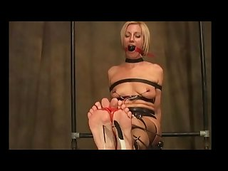 Theticklechannel milf mo rina blonde bound gagged tickled with feather