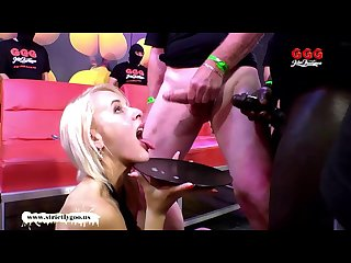 Skinny blondie drinks cum from a plastic tube german goo girls