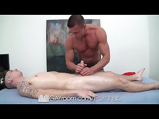 Hd gayroom travis gets massaged by tyler saint