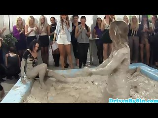 Classy euro hotties watch mud Wrestling match
