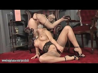 Hot milf lana presents babe with glass dildo for some hot lesbian action