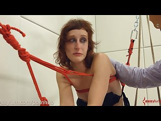 Dominatrix gets destroyed 2 brutal cunt suspension with ass to mouth