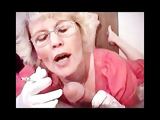 Granny in gloves smoking bj