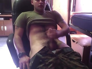 Army guy shoots his load for you