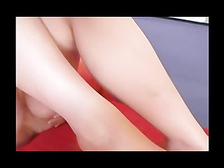 Skinny redhead in panties with a toe sucking and pantyhose fetish