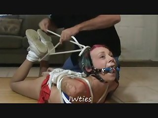 Spryte Abducted hogtied and harness gagged