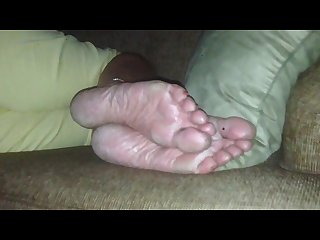 Aunts feet and soles candid laying on couch