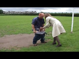 Public blowjob and hand relief from english milf in stockings and overcoat
