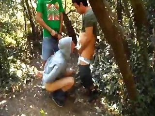 Buddy record us fucking our handcuffed friend in the forest