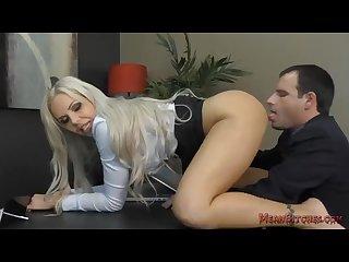 Boss nina elle makes her employee kiss her ass feet femdom worship