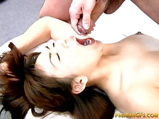 Hardcore japanese getting mouthful of jizz