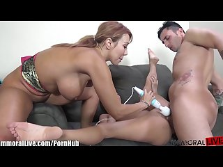 ImmoralLive Latina MILF teaching petite asian to fuck!