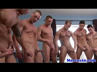 Muscled hunks fuck and suck in big orgy