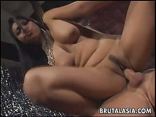 Fantastic big titty brunette asian mesmerizer getting anal fucked