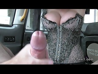 Huge tits blonde in corset fucks in cab