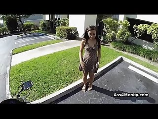 Perky ebony fucks outdoors on bike