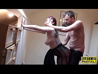 Redhead british skank spanked and doggystyled