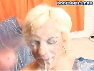 Blonde cum coated