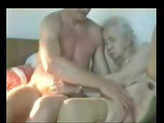 Very old granny used by younger man period amateur older