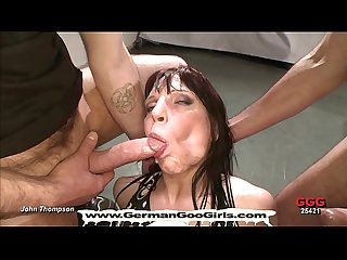 Brunette Milf is an expert when it comes to bukkake gangbang