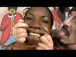 Thick ebony chick fucked hard by two white guys