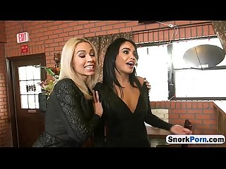 Restaurant hostesses sasha bleou and dylan daniels serving up a big dick