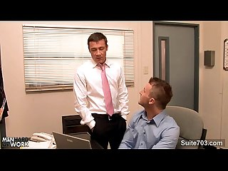 Gorgeous gay gets ass banged in the office