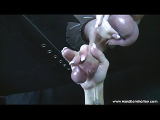 gloryhole cock drips and insane amount of pre-cum during femdom handjob