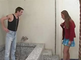 Young adorable teen beauty bathroom sex with older Plumber at home