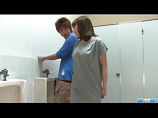Riho mikami sucks a stiff dick in a public Toilet more at 69avs com