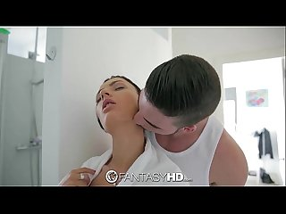 FantasyHD - Showering Honey Demon gets interrupted by cock