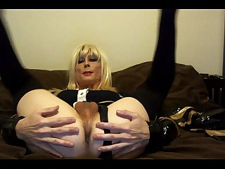 Sexy Tasha Dirty Talk Blond Slut Crossdresser Showing Ass