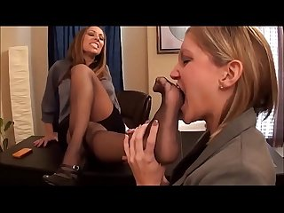 Office foot sniffing and worship tired sexy boss calls her secretary to worship her feet in office A