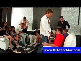 Blowjobs at a bisexual orgy