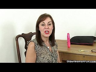 British grannies Clare and Georgie dildo their nyloned pussy