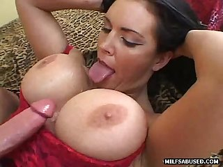 This sexy big tit milf babe is getting tittyfucked