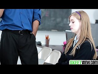 Teen schoolgirl plays the skin flute skeetview