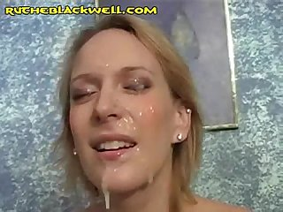 Huge facial on blonde